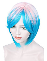cheap -halloweencostumes short ombre halloween wigs for women pink+blue