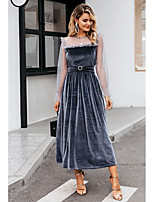 cheap -Women's A-Line Dress Maxi long Dress - Long Sleeve Polka Dot Lace Backless Patchwork Summer Fall Casual Elegant Party 2020 Gray S M L