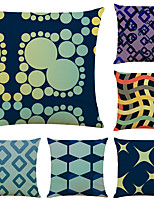 cheap -Set of 6 Simple Abstract Linen Square Decorative Throw Pillow Cases Sofa Cushion Covers 18x18