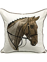 cheap -High-end Modern Minimalist Personality Canvas Cotton Horse Head Embroidered Sofa Backrest Pillow Embroidery Embroidered Pillowcase