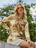 cheap -Women's Blouse Shirt Tie Dye Abstract Long Sleeve Print Round Neck Tops Basic Basic Top Brown