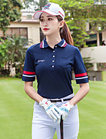 cheap -Women's Golf Polo Shirts Short Sleeve Breathable Quick Dry Soft Sports Outdoor Autumn / Fall Spring Summer Cotton Stripes Royal Blue / Stretchy