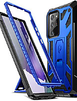 cheap -spartan series designed for galaxy note 20 ultra case, full-body rugged dual-layer metallic color accent with premium leather texture shockproof protective cover with kickstand, metallic blue