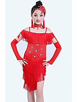 cheap -girls tutu dancing dress tassel sparkling latin tango fringe dance dress & #40;color : red, size : 110cm& #41;