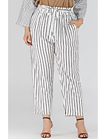 cheap -Women's Basic Breathable Plus Size Loose Daily Chinos Pants Striped Full Length High Waist White