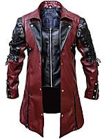 cheap -steampunk gothic men faux leather coat jacket, maroon & black - xxs