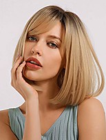 cheap -blonde unicorn bob hair wig with bangs ombre dark root to blond synthetic straight hair wig for women