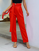 cheap -Women's Basic Breathable Loose Daily Wide Leg Pants Solid Colored Full Length High Waist Red