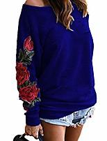 cheap -women's casual flower embroidery broken holes one shoulder tops t shirt m blue