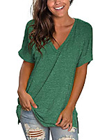 cheap -women& #39;s basic v neck short sleeve solid t shirts summer casual tops