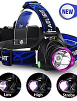 cheap -3 modes led headlight headlamp, hands-free flashlight , fits head , helmet , and belt with adjustable headband , for outdoor sports , powered by rechargeable 18650 batteries (included)