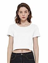 cheap -women's summer basic short sleeve tee crop t-shirt tops (white, 2x)