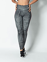 cheap -Women's Sporty Comfort Gym Yoga Leggings Pants Striped Ankle-Length Print Gray