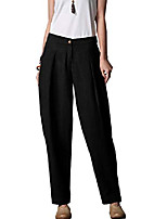 cheap -women's casual linen pants elastic waist tapered pants trousers with pockets white l