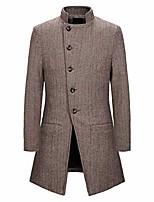 cheap -men's long trench coats stand collar slim fit casual windbreaker coat khaki