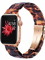 cheap -compatible apple watch band women men- fashion resin iwatch band bracelet with copper stainless steel buckle for apple watch series 6 se/5/4/3/2/1 (rose gold+tortoise, 38mm/40mm)