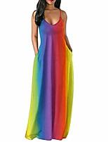 cheap -so-buts women rainbow print straps v neck sleeveless pockets boho loose beach maxi dress (multicolor,xxl)