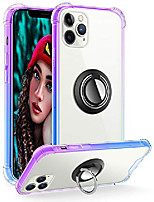 cheap -compatible with iphone 12 pro case and iphone 12 case clear with 360 rotation metal ring holder work for magnetic car phone mount, soft tpu bumper pc hard back protective case (purple blue)