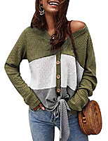 cheap -womens waffle knit blouse long sleeve v neck button down t shirts tie front tops army green