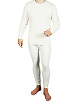 cheap -mens 2pc thermal underwear set, crew top shirt + pants bottom - long john set (off white, small)