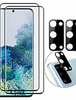 cheap -2 pack tempered glass full coverage 3d glass screen protector film + 2 pack camera lens protection anti-scratch, anti-fingerprint, ultra thin protection for samsung galaxy s20 ultra 6.9 inch