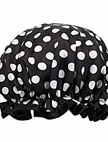 cheap -reusable women's waterproof shower caps for long hair, black and white dots