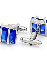 cheap -sapphire cubic zirconia crystal cufflinks silver tone jewelry for men