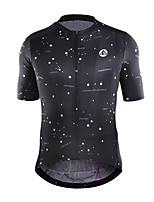cheap -21Grams Men's Short Sleeve Cycling Jersey Polyester Black Galaxy Bike Jersey Top Mountain Bike MTB Road Bike Cycling Breathable Quick Dry Reflective Strips Sports Clothing Apparel / Stretchy