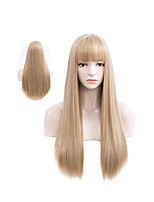 cheap -Women's Long Straight Wigs With Bangs 26 inch Heat Resistant Synthetic Cosplay Party Costume Wigs with Rose Net
