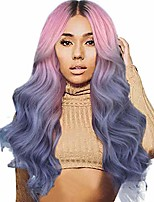 cheap -wigs blonde,synthetic non-lacewigs women long curly straight wavy synthetic full wig pink purple cosplay (purple)
