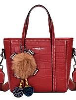 cheap -Women's Bags PU Leather Leather Top Handle Bag Tassel Zipper Daily Outdoor Handbags Baguette Bag Black Blue Red Khaki