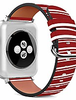 cheap -compatible with apple watch - 38mm / 40mm (serie 5,4,3,2,1) leather wristband bracelet with stainless steel clasp and adapters - red white stripes
