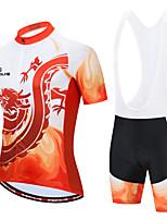cheap -Men's Short Sleeve Cycling Jersey with Bib Shorts White Black / White Bike Sports Geometic Clothing Apparel / Micro-elastic / Athleisure