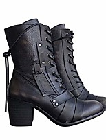 cheap -women's retro comfy chunky-heel lace-up boots winter high heel ankle boots leather vintage boots ladies biker boots for women