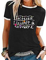 cheap -Women's T-shirt Letter Patchwork Print Round Neck Tops Basic Basic Top White Black Blue