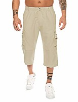 cheap -outdoors cargo shorts 3/4 relaxed fit below knee multi-pocket capri long shorts cotton twill beach capri pants(beige,large)