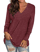 cheap -womens tops long sleeve v-neck shirts loose blouse basic tee t-shirt c-wine red xl