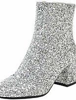 cheap -women's sequin glitter ankle boots chunky heels sparkly booties us 7, silver