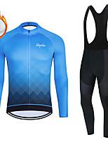 cheap -WECYCLE Men's Women's Long Sleeve Cycling Jersey with Bib Tights Cycling Jersey with Tights Winter Fleece Polyester Blue Black / White Black / Blue Gradient Geometic Bike Clothing Suit Fleece Lining