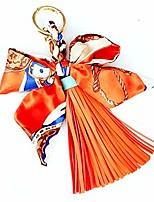 cheap -silk ribbon bow tassel bag pendant charm keyring keychain for women purse handbag decor (orange)