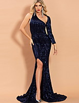 cheap -Mermaid / Trumpet Beautiful Back Sexy Wedding Guest Formal Evening Dress One Shoulder Long Sleeve Sweep / Brush Train Sequined with Sequin Split 2020