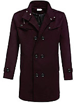 cheap -mens wool slim fit double breasted classic trench coat (wine red xl)
