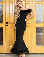 cheap -Mermaid / Trumpet Minimalist bodycon Wedding Guest Formal Evening Dress Off Shoulder Sleeveless Ankle Length Spandex with Tassel 2020