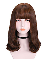 cheap -Synthetic Wig Curly With Bangs Wig Medium Length Brown Blonde Black Synthetic Hair Women's Soft Exquisite Comfy Blonde Brown
