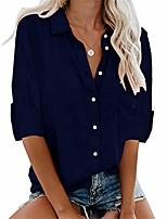 cheap -women's cuffed long sleeve shirt lightweight button up work blouses (s, navy blue)