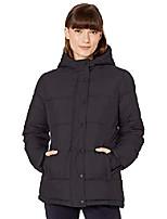 cheap -women's fashion heavy-weight long-sleeve full-zip hooded puffer coat, black, small