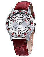 cheap -ladies fashion casual red leather quartz analog wrist watches