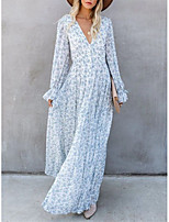 cheap -Women's A-Line Dress Maxi long Dress - Long Sleeve Floral Print Spring Fall V Neck Casual Going out Chiffon Loose 2020 White S M L XL