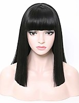 cheap -straight hair wigs with bangs black synthetic hair wigs heat resistant costume cosplay daily wig for women 16inch