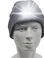 cheap -unisex knit beanie hands-free lighted hat with 5 built-in led flashlight for walking, running, hunting, camping, or fishing at night, one size fits most(black, gray) (gray)